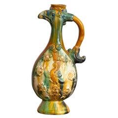 Chinese Sancai Pottery Phoenix Form Ewer in Glazed Ceramic