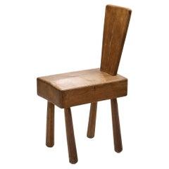 Mid-Century Brutalist Oak Chair, France 1960s