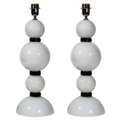 Pair of Hand Blown Glass White and Black Table Lamps by Alberto Dona