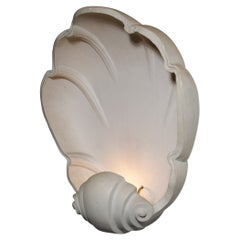 Large French Wall Light Shell in Plaster from the 80's E440