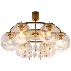 Chandelier in Brass with Spheres in Glass
