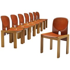 Afra & Tobia Scarpa Set of Eight '121' Dining Chairs in Red Leather
