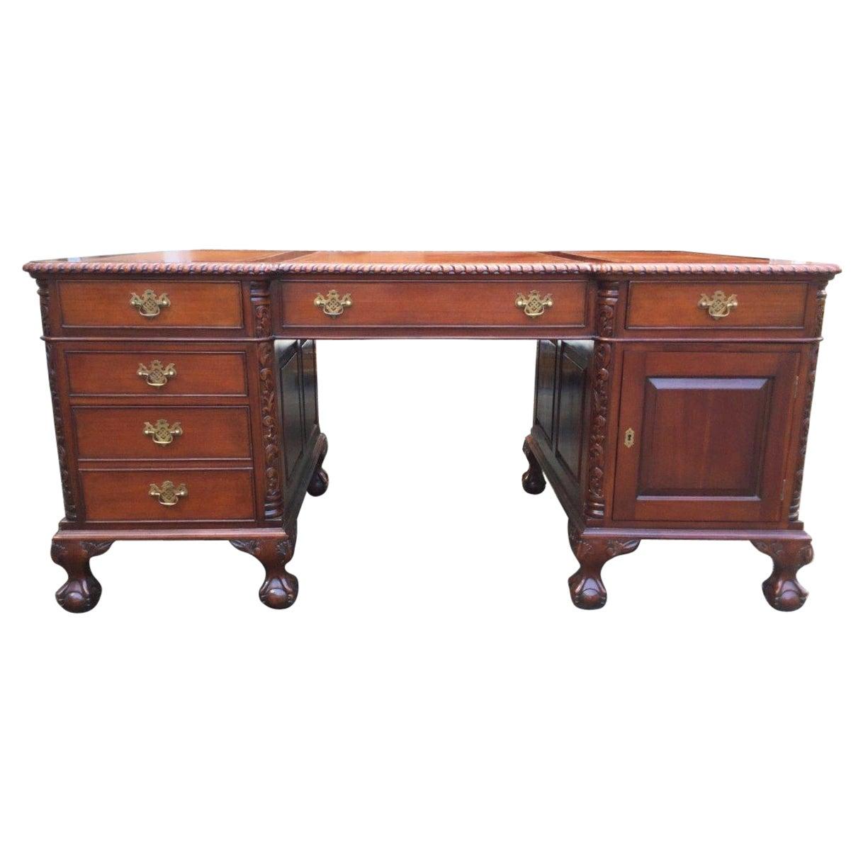 Power Broker Vintage Mahogany Partner's Desk