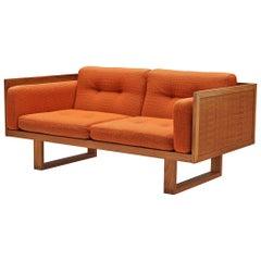 Paul Cadovius Two-Seat Sofa with Orange Cushions