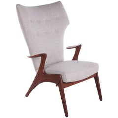 Danish Wing Chair in Teakwood by Kurt Østervig, 1950s