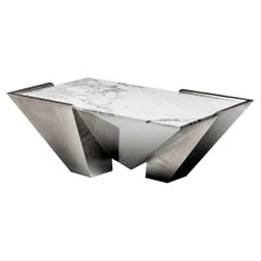 Garrido Lineal Coffee Table in Anthracite Nickel Finish with Marble-Top