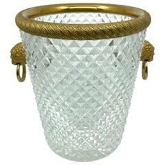 Crystal and Ormolu Lion Head Ring-Handle Champagne Ice Bucket