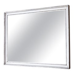 Large Rectangular Mirror in Antique Silver Frame, France Early 19th-Century