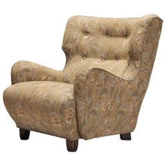 Comfortable Lounge Chair in Patterned Upholstery