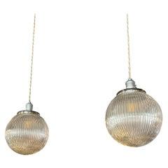 Pair of Ribbed Glass Globe Pendant Lights