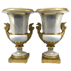 Pair Neoclassical Paris Porcelain Gilt Vases