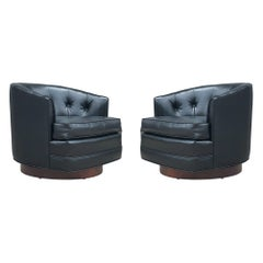 Mid-Century Modern Swivel Barrel Back Lounge Chairs or Club Chairs with Walnut