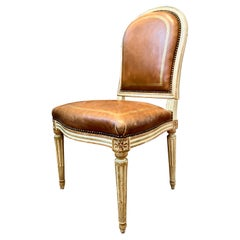 French Louis XVI Style Chair, Tooled and Gilt Leather