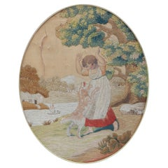 19th Century Tapestry Child with Dog Petit Point Wall Decoration