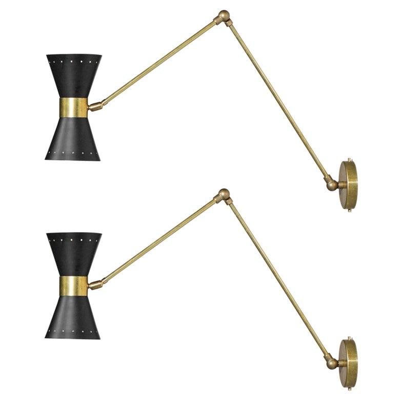 Pair of Black Articulated Modern Italian Sconces Design Stilnovo Noa Brass ML137