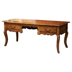 Late 19th Century French Louis XV Carved Chestnut Desk Table with Drawers
