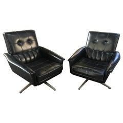 Mid-Century Modern Italian Revolving Office Black Faux Leather Armchairs, 1960s
