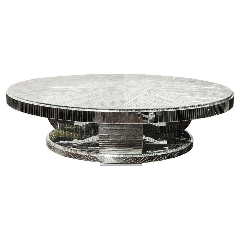 Custom Art Deco Style Mirror Coffee Table For Sale
