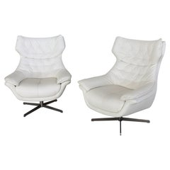 Italian Midcentury Swivel Armchairs in White Leather, 1980s