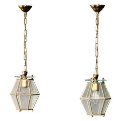 Pair of Brass and Glass Chandelier