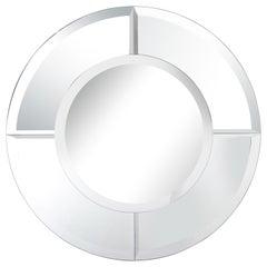 Custom Large Round Beveled Mirror in the Manner of Karl Springer