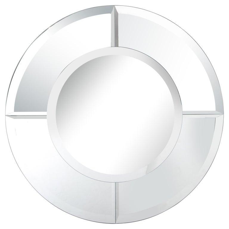 Custom Large Round Beveled Mirror in the Manner of Karl Springer For Sale