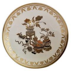 Spode Orphaned Porcelain Saucer, Chinoiserie Gilt Potted Flowers, Regency ca1820