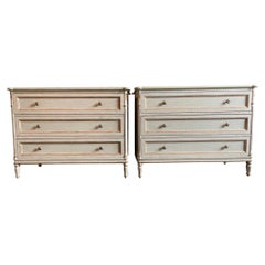 Pair of Contemporary Louis XVI Style Three Drawer Chests
