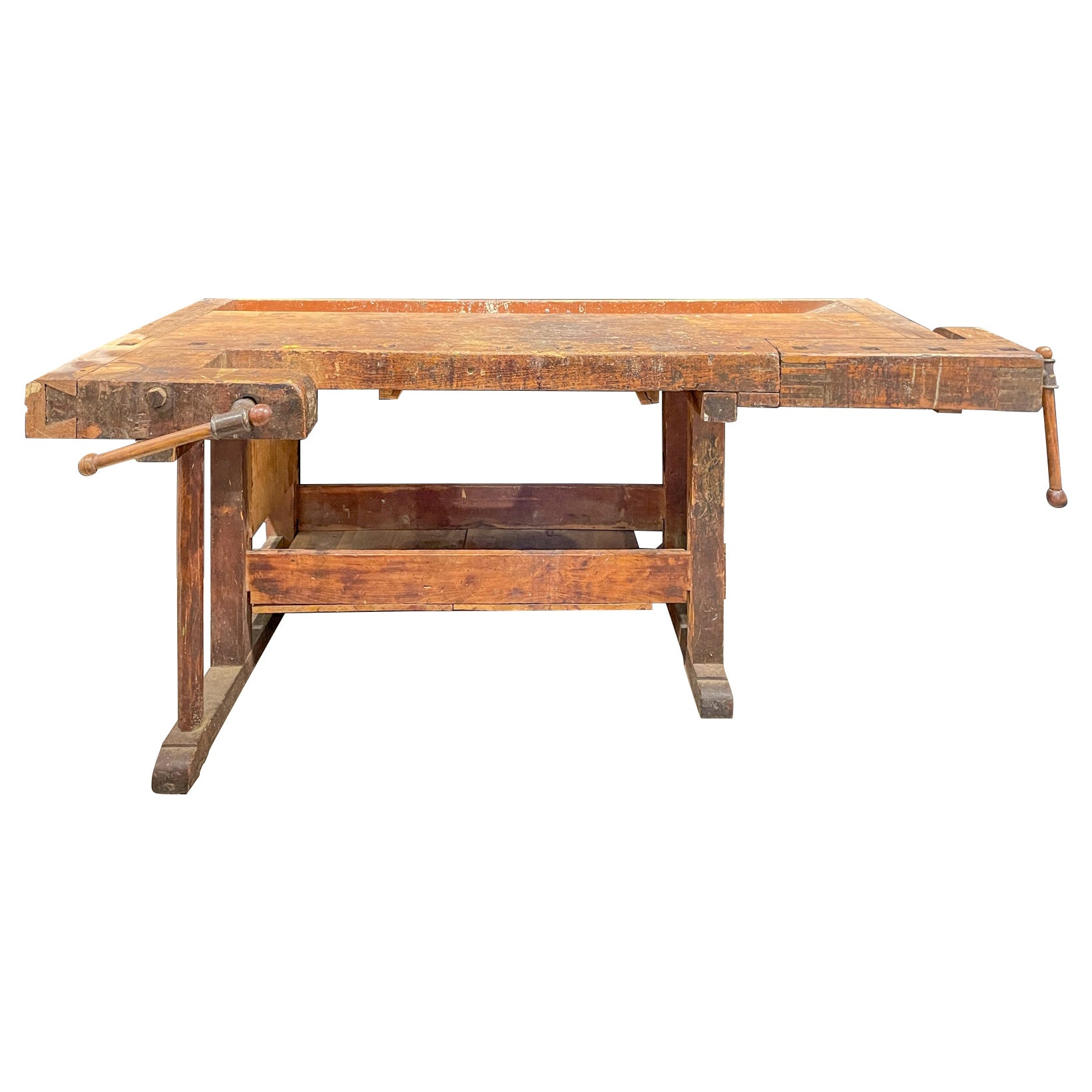 Large Antique French Work Table with Two Vices & Dog Holes on Trestle Base