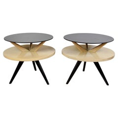 Mid Century Glass Topped Tripod Tables