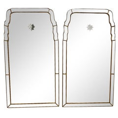 Pair of Venetian Style Mirrors with Etched Starburst