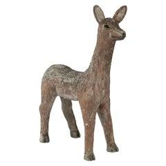 Vintage Folk Art Deer Sculpture