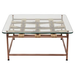 Glass-Topped Antique Copper Coffee Table
