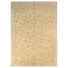 Rug & Kilim's Spanish Style Rug in Yellow and Beige Medallion Pattern