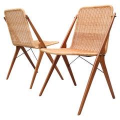 Dutch Design Wicker and Teak Wood Chairs in Style of Dirk van Sliedregt