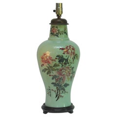 Oriental Porcelain Celadon Glazed Painted Vase Mounted as a Lamp 20th Century