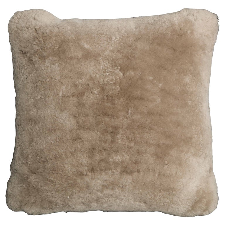 Genuine Shearling Pillow in Taupe Color For Sale