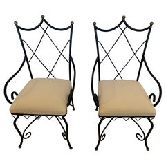 Romantic Pair of French Wrought Iron Armchairs with Brass Finials
