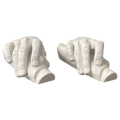 20th Century White Vintage Pair of French Plaster Table Décor, Hand of Mose