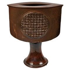 Vintage Large Ceramic 'Eye' Pedestal Vase, William Shinn