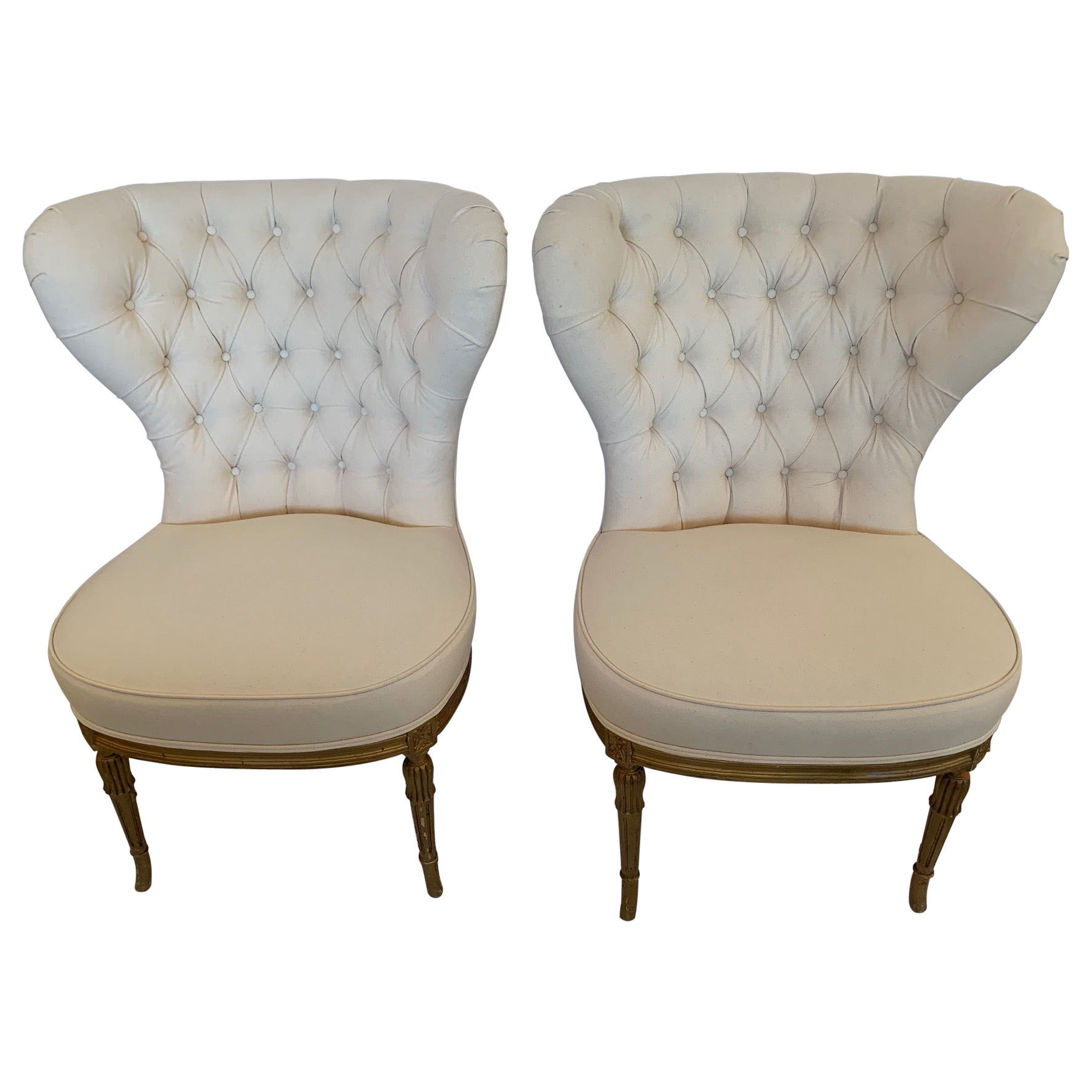 Dramatic 19th Century Newly Upholstered Tufted Fan Back Slipper Chairs