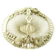 Antique Irish Belleek Porcelain Four Strand Basket Centerpiece 1865-1889 Ireland