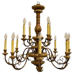 Large 12-Arm Tole and Wood Chandelier