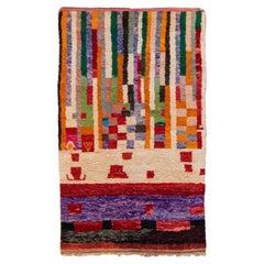 Vintage Boujad Moroccan Handmade Multicolor Designed Berber Wool Rug