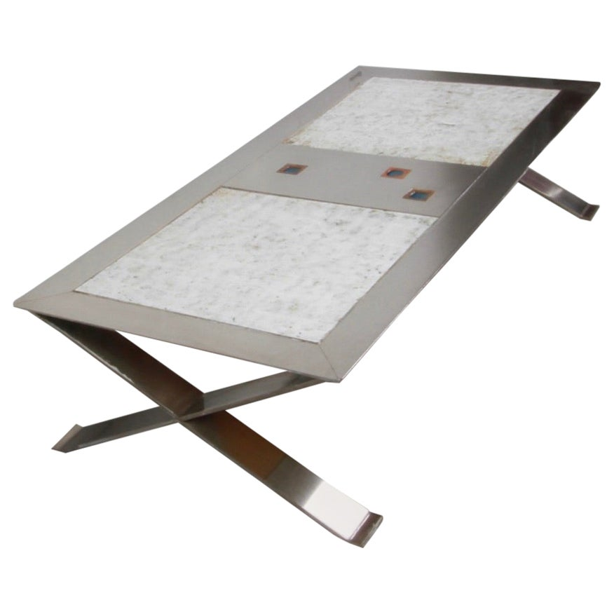 French Roche Bobois Nickel & Ceramic Tile Coffee Table, 1970s
