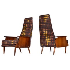 Adrian Pearsall Style Walnut Shell Tufted High Back Lounge Chairs