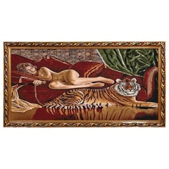 Vintage 70s Tapestry Style Nude Woman and Tiger Painting