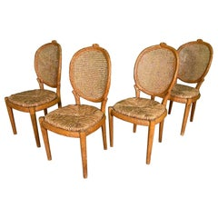 Faux Bois and.Cane Dining Chairs, Set of 4