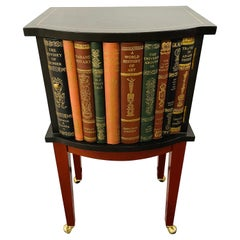 Regency Style Book Design Nightstand or End Table with Leather Top