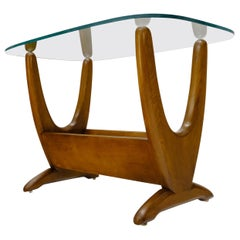 Mid-Century Modern Sculptural Wood & Glass Top End Side Table Stand